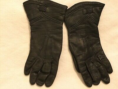 Retro 60's leather ladies Gloves black gauntlet style warm lined small/ medium