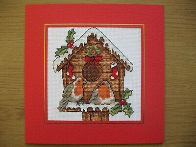 EX LARGE COMPLETED CROSS STITCH CARD CHRISTMAS BIRDHOUSE (7,5''x7,5'')