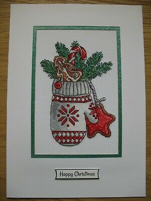 EX LARGE COMPLETED CROSS STITCH CARD CHRISTMAS GLOVE (10,5''x7,5'')