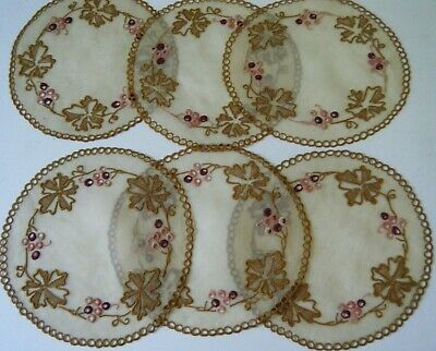 Set Madeira 6 old Organdy exquisitly embroidered  table coasters doilies