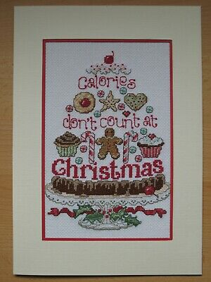 EX LARGE COMPLETED CROSS STITCH CARD CHRISTMAS CALORIES (10,5''x 7,5'')