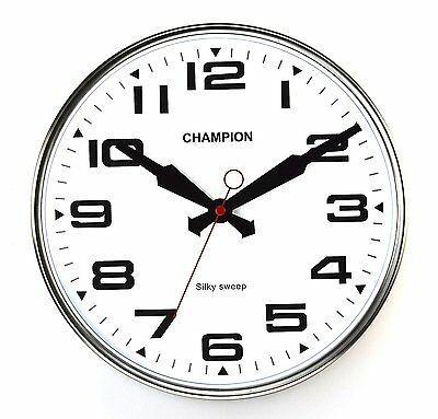 Champion Non ticking Sweeping Seconds Hand Quartz Wall Clock Domed Glass Lens
