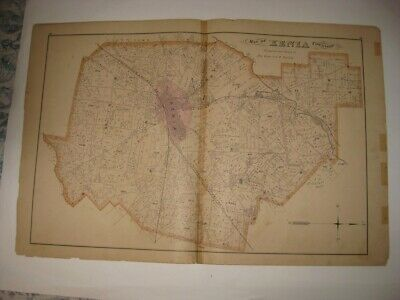 Large Antique 1874 Xenia Township Greene County Ohio Handcolored Map Detailed Nr