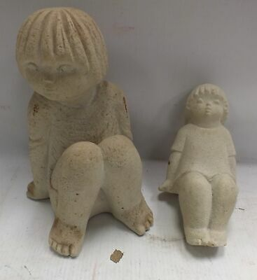 A Pair of MARBELL By Stone Art Belgium Stone Child Pieces  - A23
