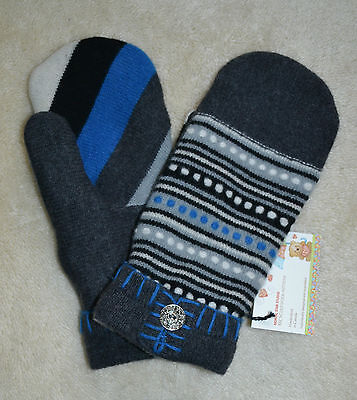 HANDMADE 100% WOOL recycled sweater MITTENS, Fleece Lined, Fair Isle, patchwork