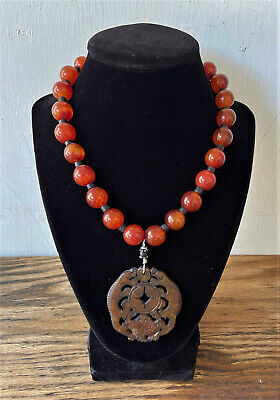 Vintage Chinese Carnelian Bead & Antique Carved Jade Foo Dog Pendant Necklace