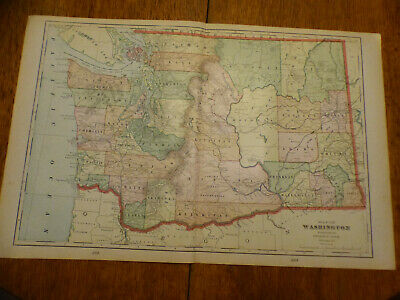 """1903 Cram's Atlas Map 2 Page,Washington State,Color,Suitable To Frame 14""""X21"""""""
