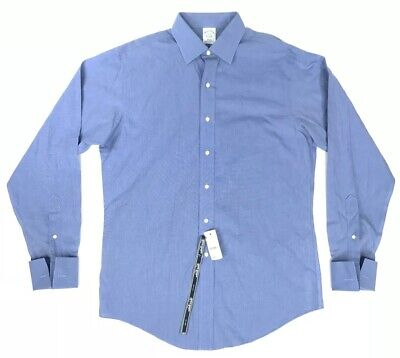 NWT&D Brooks Brothers Mens 16 - 36 Slim Fit Solid Blue Button Front Dress Shirt