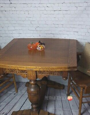Antique Draw Leaf Table And Captain Chairs