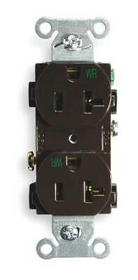 HUBBELL WIRING DEVICE-KELLEMS BR20WR 20A Duplex Receptacle 125VAC 5-20R BN