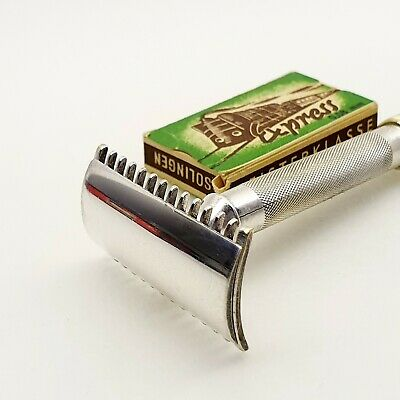 GILLETTE STERLING SILVER safety razor vintage 1930s antique USA w EXPRESS blade