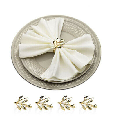 Set of 4/12 Golden Maple Leaf Napkin Rings Christmas Holiday Dinner Party Decor