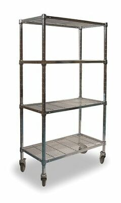 ZORO SELECT 2HDE9 Wire Cart,4 Shelf,36x24x70,Chrome