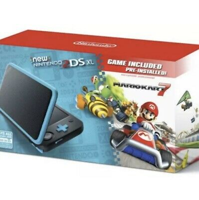 Nintendo 2DS XL Black Turquoise With Mario Kart 7 Handheld Portable System Very