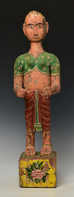 19th Century, Mandalay, Antique Burmese Wooden Standing Figure