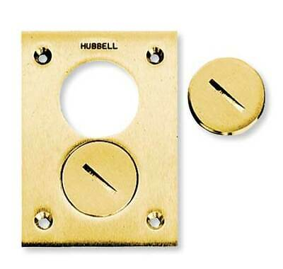 HUBBELL WIRING DEVICE-KELLEMS S3625 Floor Box Cover,Rectangular,2-Gang,Brass
