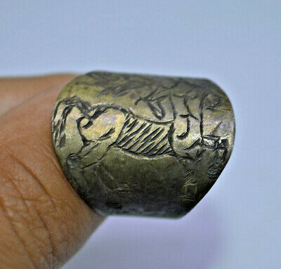 Ancient 8-10 AD C. Viking HORSE WARRIOR engraved symbols silver RING WEARABLE