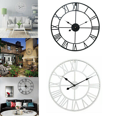 3D DIY Wall Clock Roman Numeral Skeleton Metal Open Face Round Art Decor