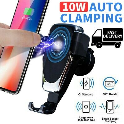 For Samsung Galaxy S10 S9 S8 Plus + Qi Fast Charging Wireless Charger Car Mount
