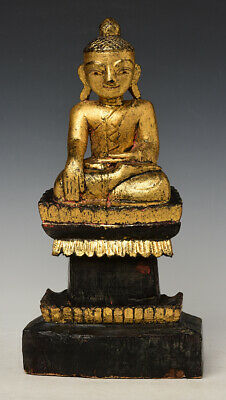 Early 19th Century, Early Mandalay, Antique Burmese Wooden Seated Buddha