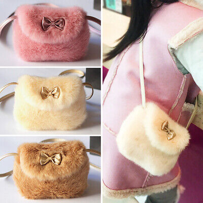 Cute Baby Girls Kids Mini Crossbody Fluffy Bag Imitation Fur Bag Purse Bowknot
