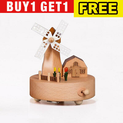 Windmill Music Box Hand-painted Engraving Music Box for Home Office Decoration
