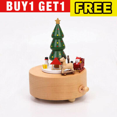 Christmas Tree Music Box Hand-painted Engraving Music Box for Home Office Deco