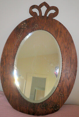 Antique Oval Bevilled Edge Wall Mirror With Stained Plywood Copper Decoration