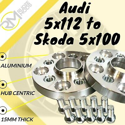 Audi CAR 5x112 57.1 to Skoda 5x100 15mm Hubcentric PCD Adaptors - Steel Inserts