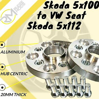Skoda 5x100 57.1 to VW Seat Skoda 5x112 57.1 20mm Hubcentric PCD Adaptors 1 Pair