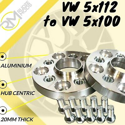 VW CAR 5x112 57.1 to VW 5x100 20mm Hubcentric PCD Adaptors - Steel Inserts
