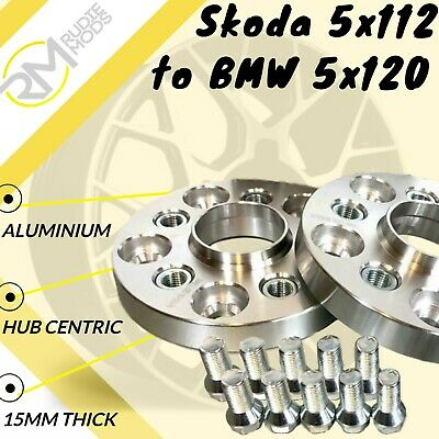 Skoda CAR 5x112 57.1 to BMW 5x120 15mm Hubcentric PCD Adaptors - Steel Inserts