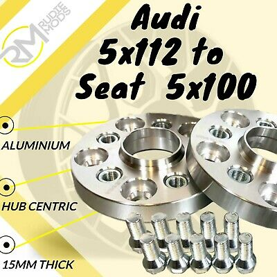 Audi CAR 5x112 57.1 to Seat  5x100 15mm Hubcentric PCD Adaptors - Steel Inserts
