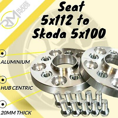 Seat CAR 5x112 57.1 to Skoda 5x100 20mm Hubcentric PCD Adaptors - Steel Inserts