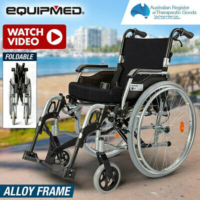 EQUIPMED 24 Folding Wheelchair Alloy with Brakes Folding Armrests for Dining