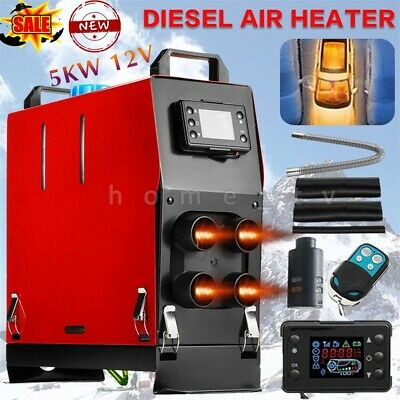 5KW 12V Air Diesel Heater 4 Holes LCD Monitor PLANAR Remote Trucks Boats Vent