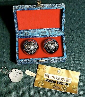 Vintage Chinese Baoding Iron Hollow Relaxing Balls Health Shouxing Engraved 1985
