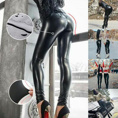 Women Lady Wet Look Skinny Leggings PU Leather High Waist Stretch Trousers Pants