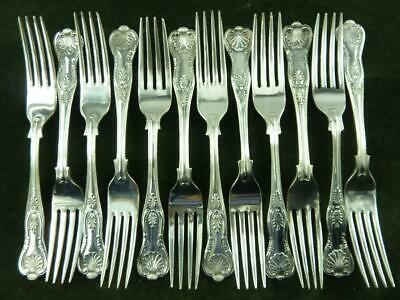 12 Vintage EPNS Dinner Table Forks kings pattern silver plated mixed makers #3