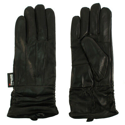 Ladies Winter 3M Thinsulate Soft Genuine Leather Long Ruched Wrist Gloves Black