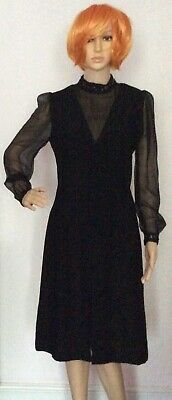 vintage 70s black moss crepe chiffon balloon sleeves sequin evening dress 10 12