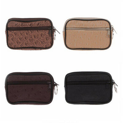 Women Ladies Men Genuine Leather Small Coin Card Key Ring Wallet Pouch Purse LC