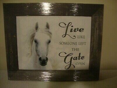 HORSE Wall Print in wood Frame-Live Like Someoone Left The Gate Open