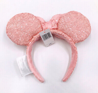 Mickey Mouse Millennial Pink Bow Sequins Disney Parks New Minnie Ears Headband