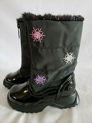 TOTES Toddler Little Girls Black Patent & Nylon Snow Flake Winter Boots 6 NEW!