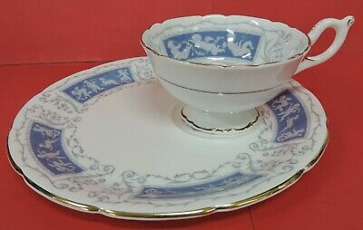 Coalport Revelry Snack Plate W/Cup Set-Bone China-Made In England-Gold Trim