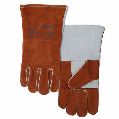 Cow Split Full Leather Lining Safety Welding Gloves Flame Heat Resistant