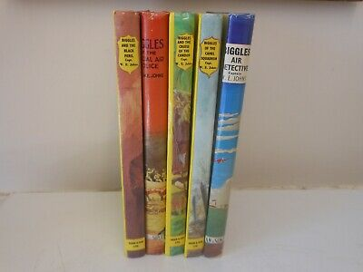 5 old biggles books,,,,,10