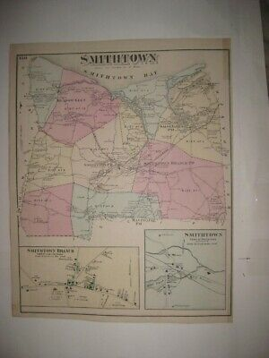 Antique 1873 Smithtown St Saint James Suffolk County New York Handcolored Map Nr