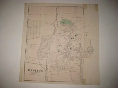 VINTAGE ANTIQUE 1873 BABYLON city SUFFOLK COUNTY NEW YORK HANDCOLORED MAP SUPERB